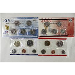 2001 US MINT SET (UNC) P/D (WITH ENVELOPE)