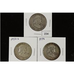 1948-D,52-S & 58 FRANKLIN HALF DOLLARS