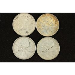 1957,65,65 & 68 CANADA SILVER 25 CENTS