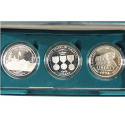1994-P US VETERANS 3 SILVER DOLLAR PROOF SET