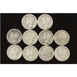 10 ASSORTED 1920'S MERCURY DIMES