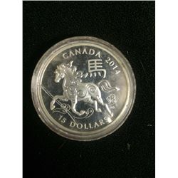 2014 UNCIRCULATED CANADIAN 15 DOLLAR SILVER COIN
