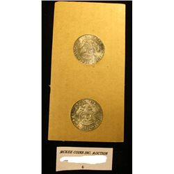 Tidy House Products Advertising holder with 1964 P & D 90% Silver Gem BU Kennedy Half-Dollars in ori