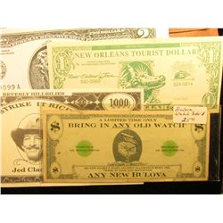 """Currency Partition Envelope folder containing 1976 Murray's Antiques advertising scrip; """"…Bring in A"""