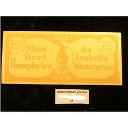 """""""Miss Bert Humphries As Arabella Wintergreen"""" Stage Show Currency."""