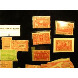 A Group of Damaged Bottle Tax Stamps from the 1800s; Group of Travancore Anchel cancelled stamps; an