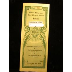 """1920 Bond Issue """"Walkill Stump and Land Clearing District"""" Clay County, Florida Five Hundred Dollars"""