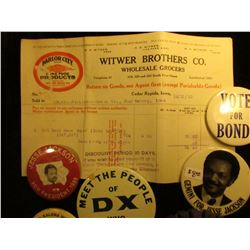 "1904 & 1910 Invoices with letterheads ""Witwer Brothers Co. Wholesale Grocers…Cedar Rapids, Iowa""; ""G"