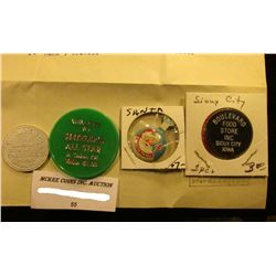 """""""Health To All"""" Santa Clause tab Pen; """"Welcome to Hetzler's All Star A Token of Value""""; """"Boulevard F"""
