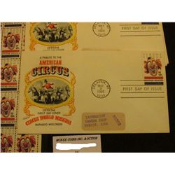 """Original Mint Sheet of fifty """"Circus"""" U.S. Five Cent Stamps; & (4) May 2, 1966 First Day of Issue """"A"""