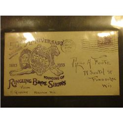 """""""50th Anniversary Baraboo Wisconsin 1883 1933 Founding of Ringling Bros. Shows From H. Gossink Waupu"""