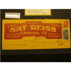 "1912 Beaumont, Texas ""The Famous Nat Reiss Carnival Co. 300 People 300 20 Big Shows 20 3 Free Acts 3"