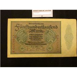 500,000 Mark Reichsbanknote Germany. #88a. VF.