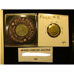 """""""Town Tavern/Page, N.D."""", """"Good For/5c/In Trade""""; 8-sc., br., BU; """"Put-A-Penny Coin…Rochester N.Y…."""""""