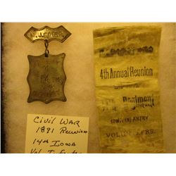 """""""M.J. Sater Company K 14th Iowa Infantry"""" Silvered badge with silvered hangar & a white ribbon with"""