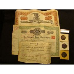 """1889 Invoice from """"Indianapolis, Ind. Bought of Geo. A. Woodford & Co. Wholesale Dealers in Fine Ken"""
