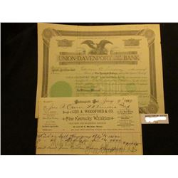 """1923 Four Shares """"Union-Davenport Trust and Savings Bank…Davenport, Iowa"""" valued at $100 each; Early"""
