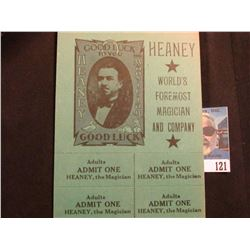 """""""Heaney World's Foremost Magician and Company"""" Group Admition Ticket, unseparated.  Allowed 10 Adult"""
