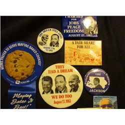 """Group of Old Pin-backs: """"Moms Prefer to serve Maytag Baked Cookies…""""; """"Jesse Jackson For President 1"""