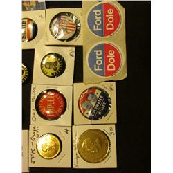 """Political Memorabilia: Pair of """"Ford Dole"""" Stickers; 39 mm George Wallace Gold-colored medal; """"I'm w"""