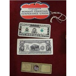 """""""At Tully's No."""", """"Good for5c/In Trade""""; (3) 1873-1973 Traer, Iowa Centennial Medals; (2) Norway Tok"""