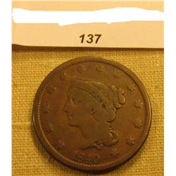 1840 U.S. Large Cent. Chocolate Brown, VG.