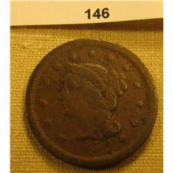 1850 U.S. Large Cent. Chocolate Brown, VG.