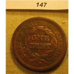 1851 U.S. Large Cent. Chocolate Brown, Very Fine, cleaned.