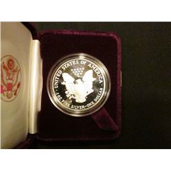 1987 S Proof U.S. American Eagle One Ounce .999 Fine Silver Dollar in original case of issue.