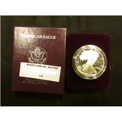 1991 S Proof U.S. American Eagle One Ounce .999 Fine Silver Dollar in original case of issue.
