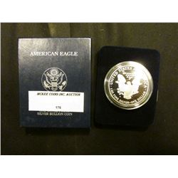 1992 S Proof U.S. American Eagle One Ounce .999 Fine Silver Dollar in original case of issue.