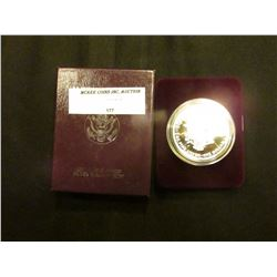1993 P Proof U.S. American Eagle One Ounce .999 Fine Silver Dollar in original case of issue.