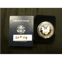 2002 W Proof U.S. American Eagle One Ounce .999 Fine Silver Dollar in original case of issue.