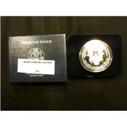 2007 W Proof U.S. American Eagle One Ounce .999 Fine Silver Dollar in original case of issue.