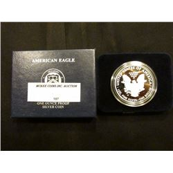 2011 W Proof U.S. American Eagle One Ounce .999 Fine Silver Dollar in original case of issue.