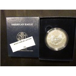 2012 W Proof U.S. American Eagle One Ounce .999 Fine Silver Dollar in original case of issue.