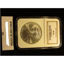 2001 U.S. American Eagle Silver Dollar. NGC Slabbed MS 69.