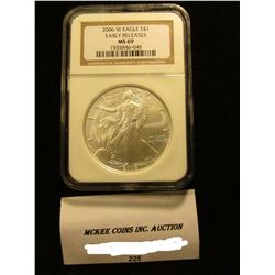 2006 W U.S. American Eagle Silver Dollar. NGC Slabbed Early Releases MS 69.