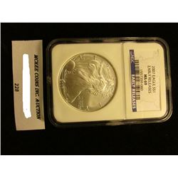 2007 U.S. American Eagle Silver Dollar. NGC Slabbed Early Releases MS 69.