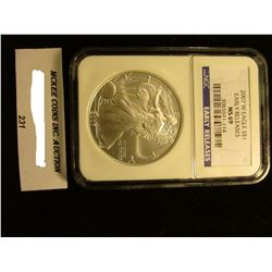 2007 W U.S. American Eagle Silver Dollar. NGC Slabbed Early Releases MS 69.