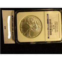 2008 U.S. American Eagle Silver Dollar. NGC Slabbed Early Releases MS 70.