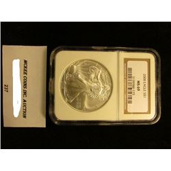 2008 U.S. American Eagle Silver Dollar. NGC Slabbed MS 69.