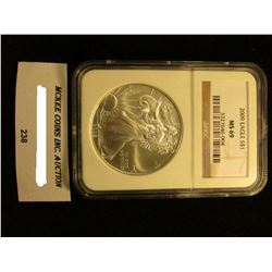 2009 U.S. American Eagle Silver Dollar. NGC Slabbed MS 69.