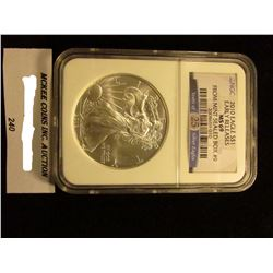 2010 U.S. American Eagle Silver Dollar. NGC Slabbed Early Releases MS 69 From Mint Sealed Box #9.