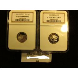 "Pair of Westward Journey Slabbed Jefferson Nickels: 2005 S ""Bison 5c PF 69 Ultra Cameo"" & 2005 S ""Oc"