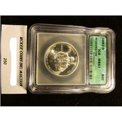 "1982 D George Washington Silver Commemorative Half-Dollar slabbed ""ICG-MS 67""."