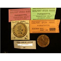 "(3) Different Ticket stubs from ""Coalport: Opera: House, Parquette"" with reverse side advertising fr"