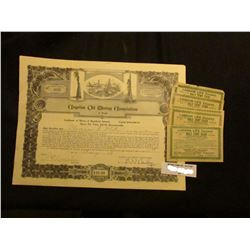 "1929 Stock Certificate for three Shares of ""Angelus Oil Mining Association…Los Angeles, Ca."" valued"