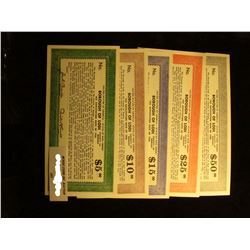 "Five-Piece $5, $10, $15, $25, & $50 Depression Scrip ""Tax Anticipation Note of 1936 United States of"
