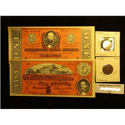 "$1 & $5 ""The Confederate States of America"" facsimile Notes; 1919 & 34 Italy Five Centimes, EF."